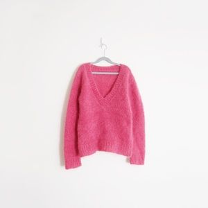 Hand Knit Pink Fuzzy Knit Mohair Sweater
